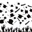 Stock Vector: Students graduating and tossing caps