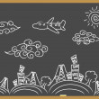 Royalty-Free Stock Vector Image: Doodle travel background drew on blackboard