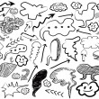 Seamless doodle background of speech bubbles and arrows — Stock Vector