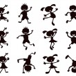Stock Vector: Black cartoon kids silhouette