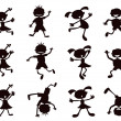 Black cartoon kids silhouette — Stock Vector