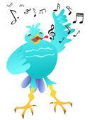 Cartoon glücklich singen vogel — Stockvektor