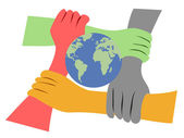 Hands united the earth — Stock Vector