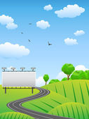 Road with billboard on countryside — Stock Vector