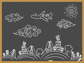 Doodle travel background drew on blackboard — Stock Vector