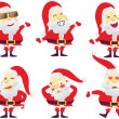 Santa in various characters — Stock Vector