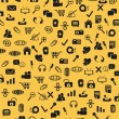 Vector de stock : Seamless web icons pattern on yellow background
