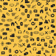 图库矢量图片: Seamless web icons pattern on yellow background
