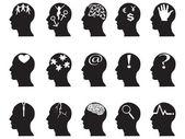 Profils noirs avec des symboles de l'idée — Vecteur