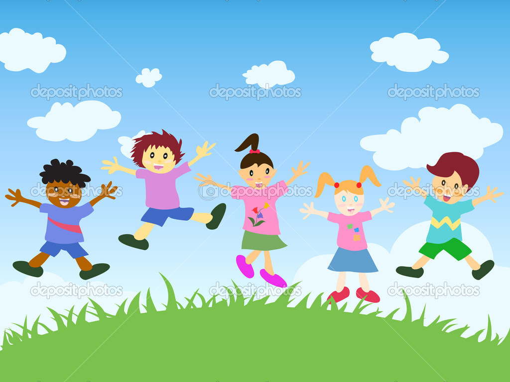 Happy kids jumping stock illustration