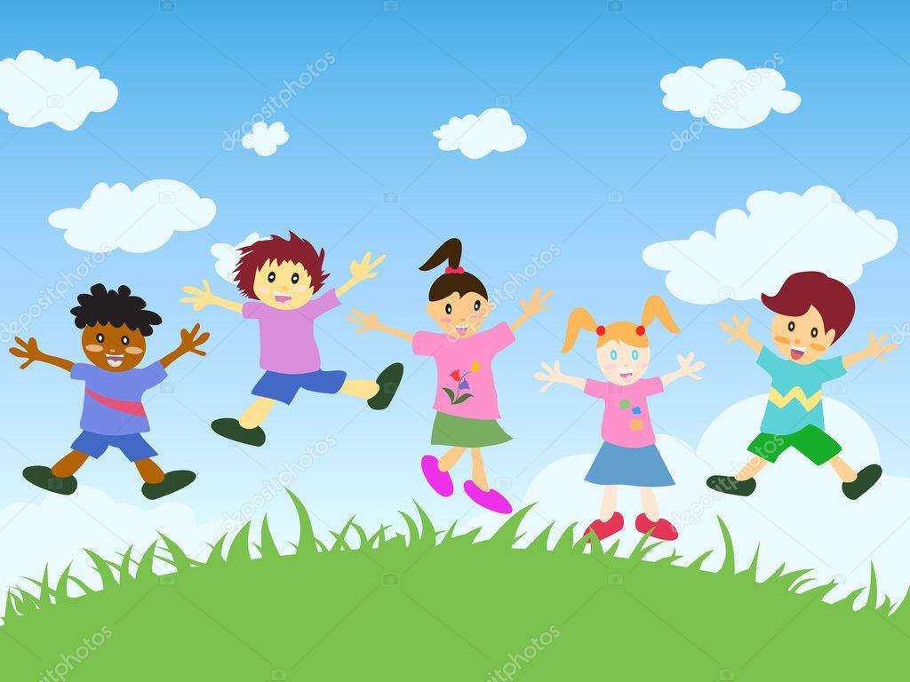 Happy Kids Jumping Stock Vector 169 Huhulin 6538782