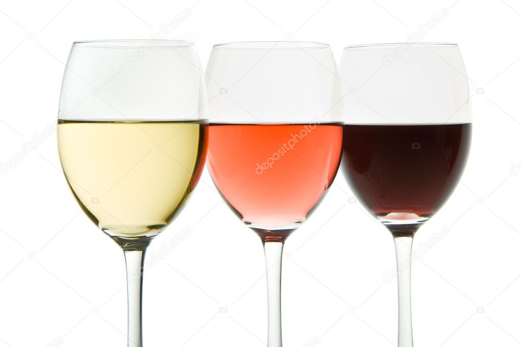 Three glasses with white, rose and red wine — Stock Photo #5734099