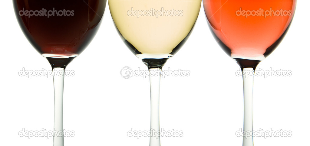 Three glasses with white, rose and red wine — Stock Photo #5734138