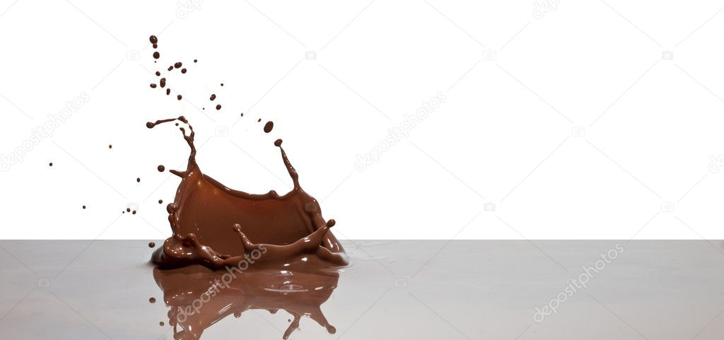 Chocolate splash closeup isolated on white background  Stock Photo #6369136