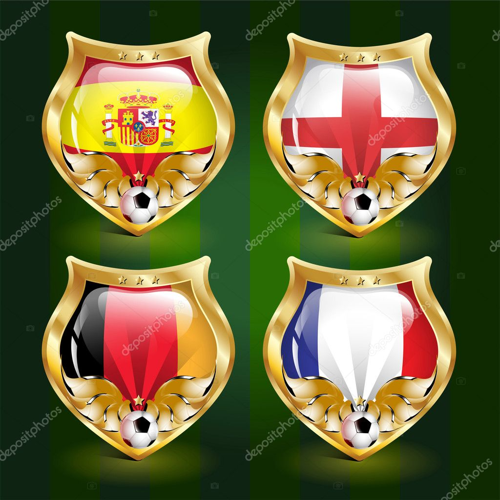 Vector football emblem: Spain, England, Germany, France — Stock Vector #5387080