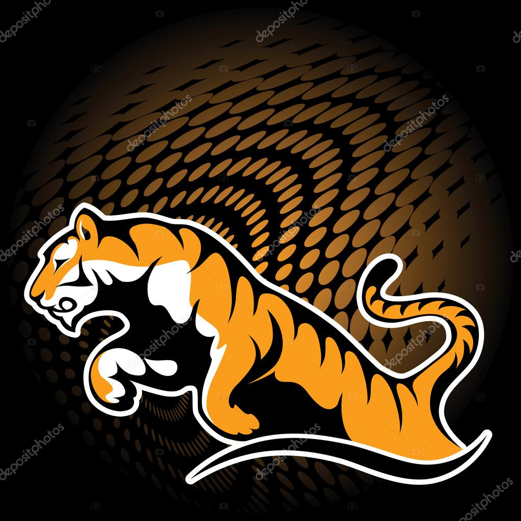 Tiger in jump — Stock Vector #5387262