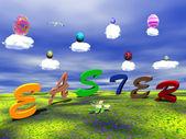 Pasqua uova sulle nuvole colorate — Foto Stock