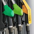 Nozzles of gas and diesel station — Stock Photo