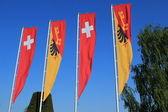 Swiss and Geneva canton flags — Stock Photo