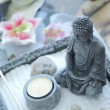 Zen buddha and table - Stok fotoraf