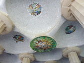 Mosaic representing the sun, park Guell, Barcelona, Spain — Stock Photo