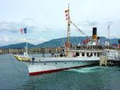 100 years celebration of old steamboat, Geneva, Switzerland — Stock Photo