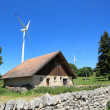 Stock Photo: House and wind turbines