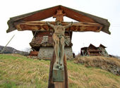 Wood Jesus cross in the mountain — Stock Photo