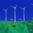 Stock Photo: Wind turbines in nature