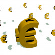 Golden piggy bank euro — Stock Photo
