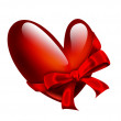 Stock Photo: Red heart with ribbon