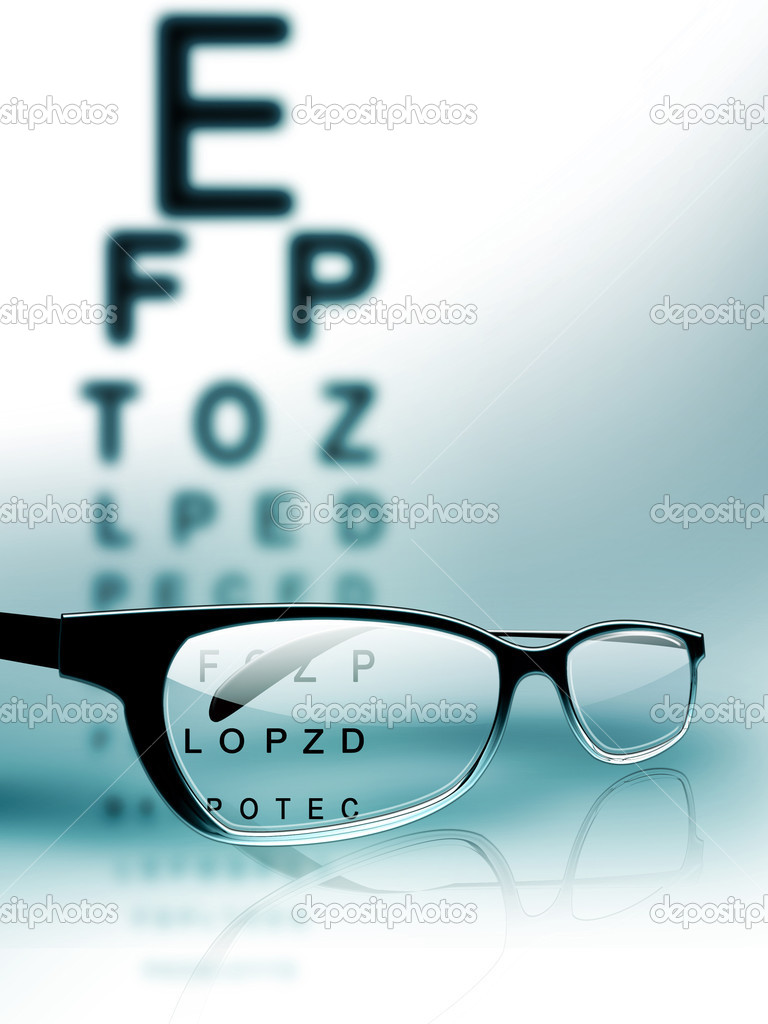 Glasses on the background of eye test chart  — Stock Photo #6126265