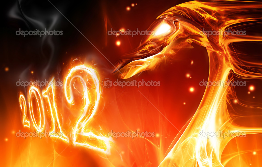 Abstract fire dragon symbol of 2012 on a dark background — Stock Photo #6645470