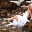 Pretty Blonde Bride Along the Ocean — Stock Photo