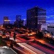 Stock Photo: Timelapse Image of Los Angeles freeways at sunset