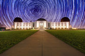 Star Trails Behind the Griffith Observatory in Los Angeles, CA — Stock Photo