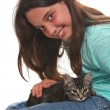 Child Holding a Kitten on White — Stock Photo #6548566