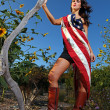 Model Adorning AmericFlag Outdoors — Stock Photo #6548608