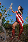 Model Adorning an American Flag Outdoors — Stock Photo
