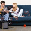 Learning the guitar — Stock Photo