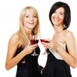 Pretty cheerful women with glasses of wine — Stock Photo