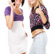 """Two beautiful woman showing """"Thumbs up"""" and ''Ok'& — Stock Photo"""