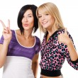 Two young beautiful woman showing Thumbs up and ''Pea — Stock Photo