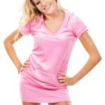 ragazza carina in un abito rosa — Foto Stock