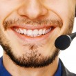 Stock Photo: Young handsome customer service operator