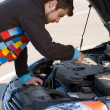 Foto Stock: Car driver examining the car's engine