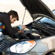 Car driver examining the car's engine — Stockfoto