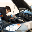 Стоковое фото: Car driver examining the car's engine