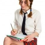 Beautiful lady writing on a worksheet — Stock Photo #5727324
