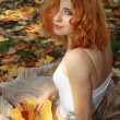 Beautiful woman in yellow leaves — Foto Stock